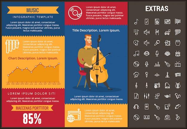 Infographic schablone, elemente und ikonen der musik