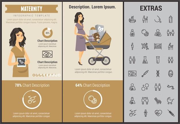 Infographic schablone, elemente und ikonen der mutterschaft