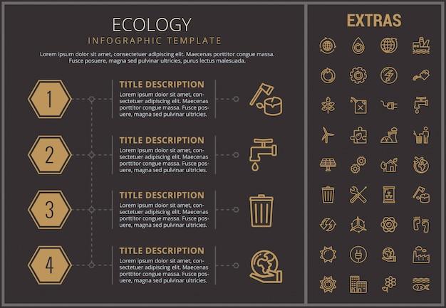Infographic schablone, elemente und ikonen der ökologie
