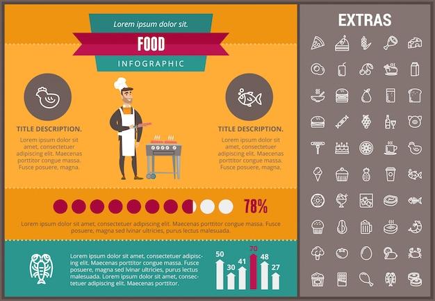 Infographic schablone, elemente und ikonen des lebensmittels