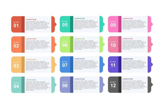 Infographic schablone mit 12 schritten für geschäft