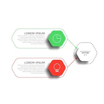 Infographic schablone mit 2 schritten mit realistischen sechseckigen elementen