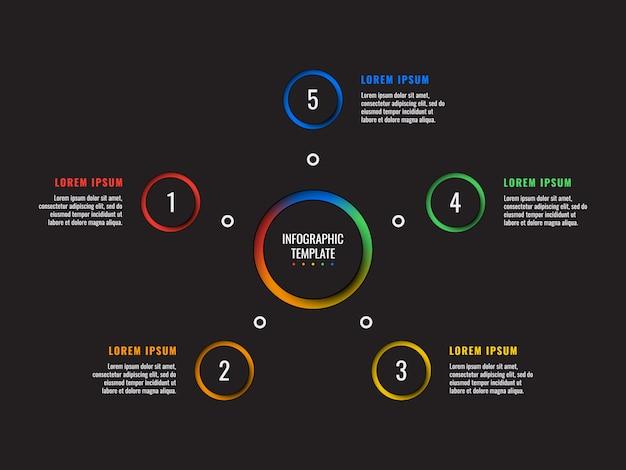 Infographic schablone mit 5 schritten mit runden papierschnittelementen auf schwarzem