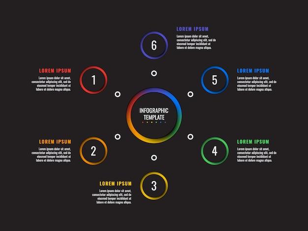 Infographic schablone mit 6 schritten mit runden papierschnittelementen. geschäftsprozessdiagramm. firmenpräsentationsfolienvorlage. modernes grafisches layoutdesign der vektorinformationen