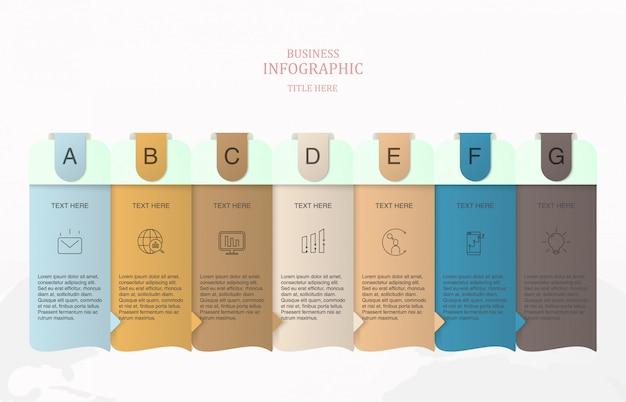 Infographic schablone mit 7 elementen für geschäftskonzept.