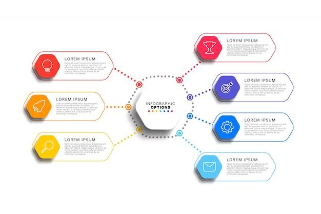 Infographic schablone mit 7 schritten mit realistischen sechseckigen elementen auf weiß