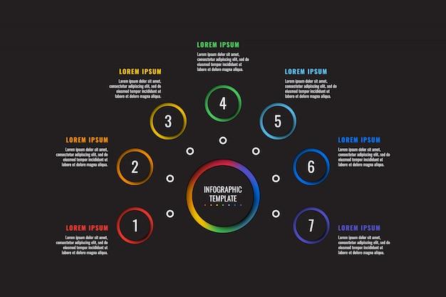 Infographic schablone mit 7 schritten mit runden papierschnittelementen auf schwarzem. geschäftsprozessdiagramm