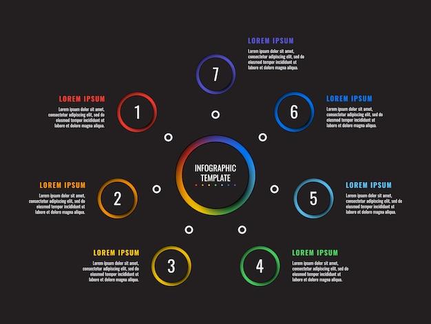 Infographic schablone mit 7 schritten mit runden papierschnittelementen auf schwarzem