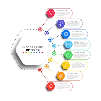 Infographic schablone mit 8 schritten mit realistischen sechseckigen elementen auf weißem hintergrund