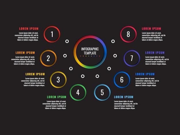 Infographic schablone mit 8 schritten mit runden papierschnittelementen auf schwarzem hintergrund