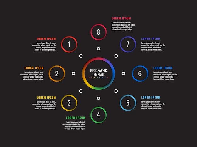 Infographic schablone mit 8 schritten mit runden papierschnittelementen. geschäftsprozessdiagramm. firmenpräsentationsfolienvorlage