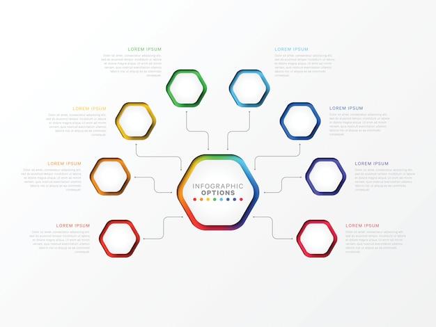 Infographic schablone mit acht schritten 3d mit sechseckigen elementen