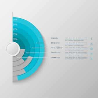 Infographic-schablone mit balkendiagramm des halbkreises 3d
