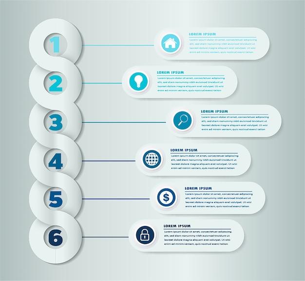 Infographic-schablone mit fahnenaufkleber des papiers 3d
