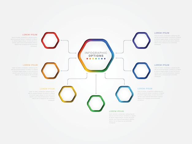 Infographic schablone mit sieben schritten 3d mit sechseckigen elementen. geschäftsprozessvorlage mit optionen