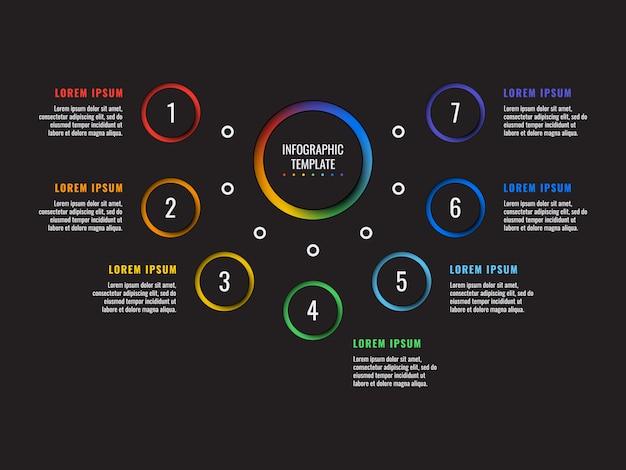 Infographic schablone mit sieben schritten mit runden realistischen elementen 3d