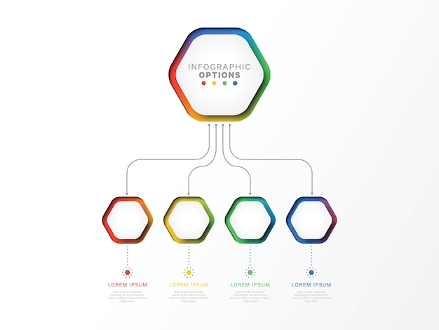 Infographic schablone mit vier schritten 3d mit sechseckigen elementen. geschäftsprozessvorlage mit optionen für broschüre, diagramm, workflow, zeitachse, web