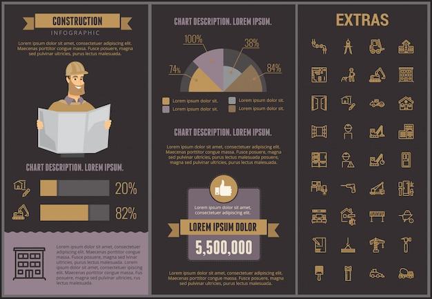 Infographic schablone und elemente des baus