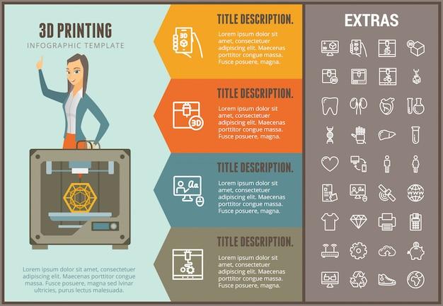 Infographic schablone und elemente des druckens 3d