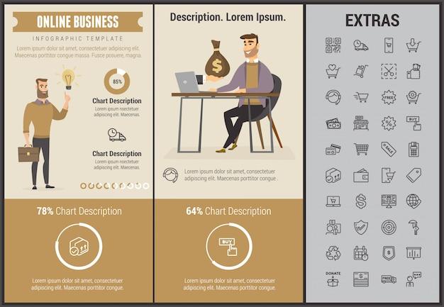 Infographic schablone und elemente des online-geschäfts