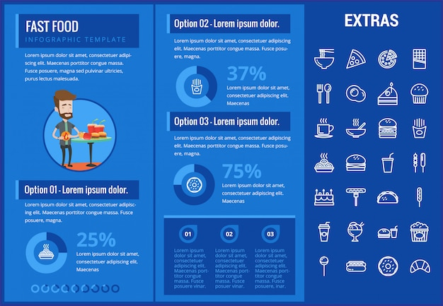 Infographic schablone und elemente des schnellimbisses