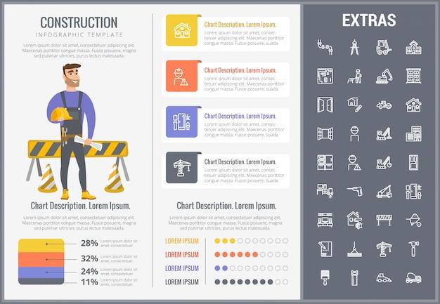 Infographic schablone und ikonen des baus eingestellt