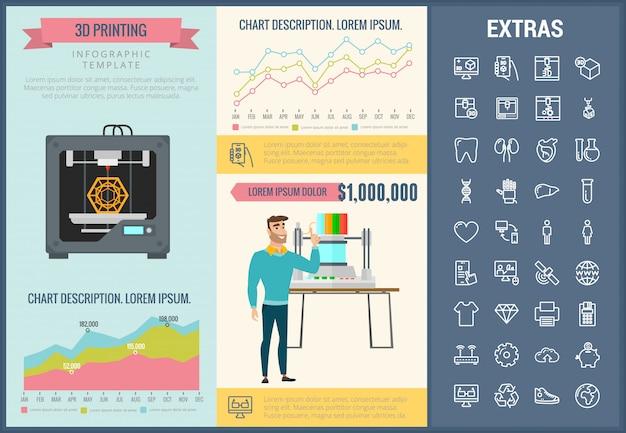 Infographic schablone und ikonen des druckens 3d eingestellt