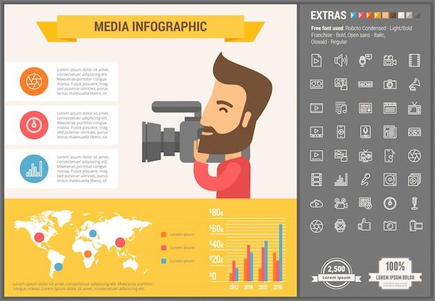 Infographic schablone und ikonen des flachen designs der medien eingestellt