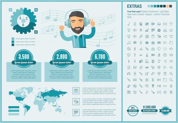 Infographic schablone und ikonen des flachen designs der musik eingestellt
