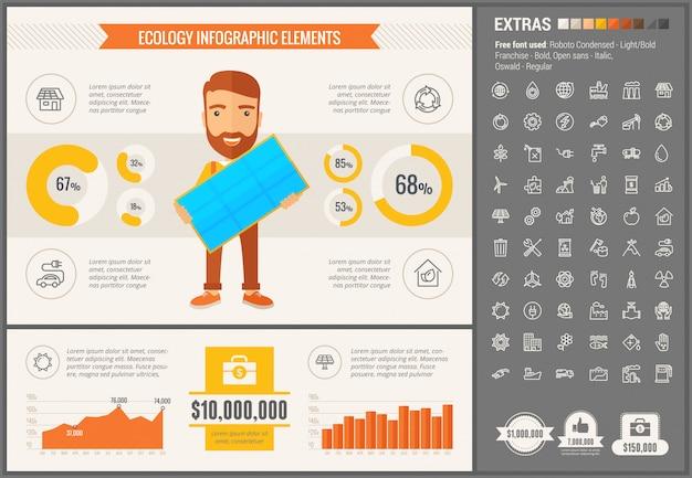 Infographic schablone und ikonen des flachen designs der ökologie eingestellt