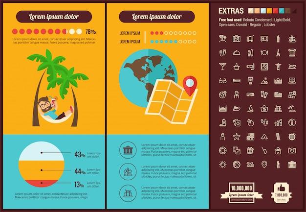 Infographic schablone und ikonen des flachen designs der reise eingestellt