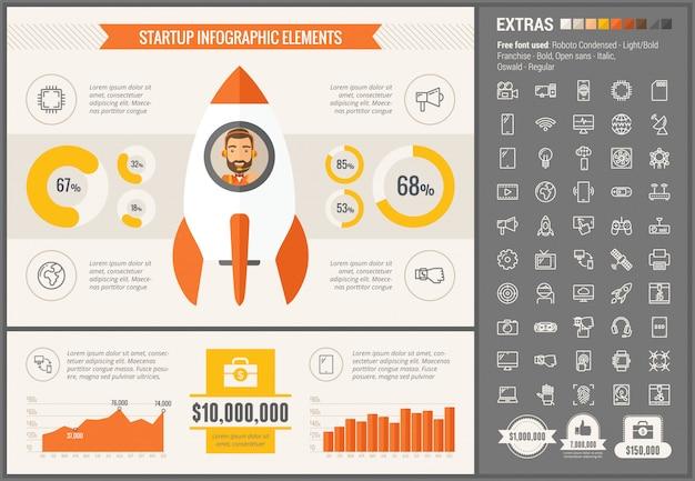 Infographic schablone und ikonen des flachen designs der technologie eingestellt