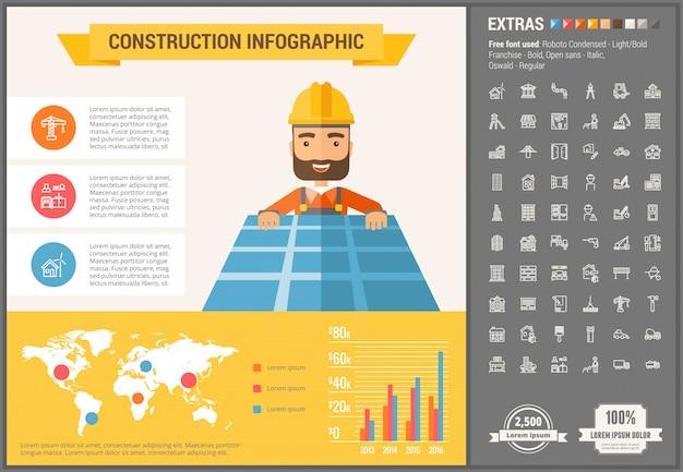 Infographic schablone und ikonen des flachen designs des baus eingestellt