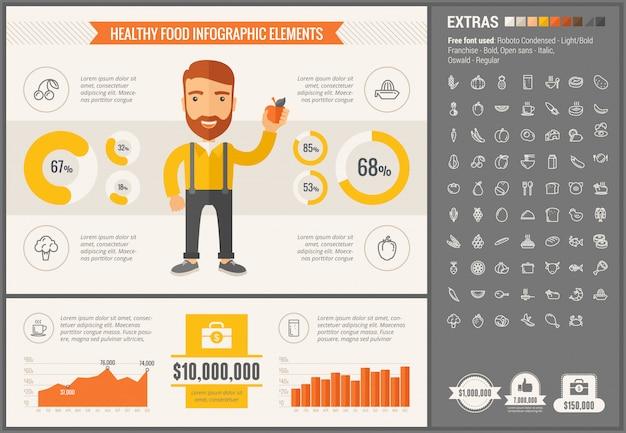 Infographic schablone und ikonen des flachen designs des gesunden lebensmittels eingestellt