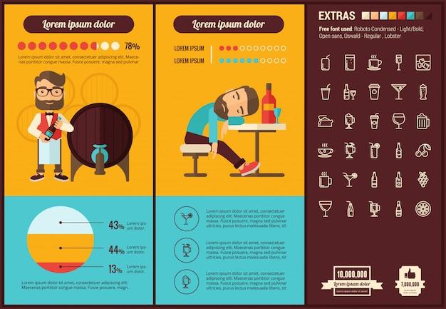 Infographic schablone und ikonen des flachen designs des getränks eingestellt