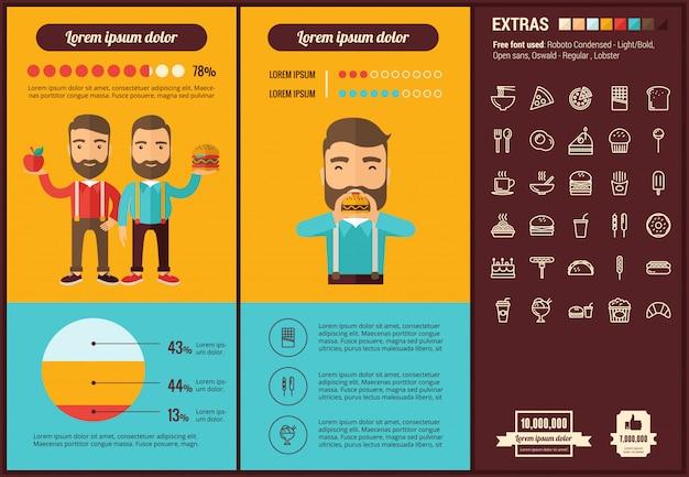 Infographic schablone und ikonen des flachen designs des schnellimbisses eingestellt