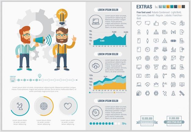 Infographic schablone und ikonen des flachen designs des social media eingestellt