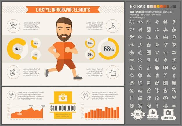 Infographic schablone und ikonen des flachen designs des sports eingestellt