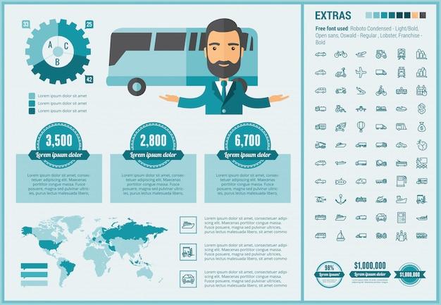 Infographic schablone und ikonen des flachen designs des transportes eingestellt