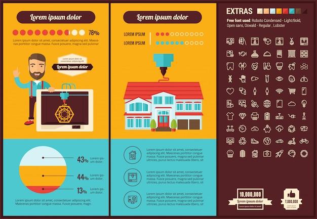 Infographic schablone und ikonen des flachen designs von drei d druck eingestellt