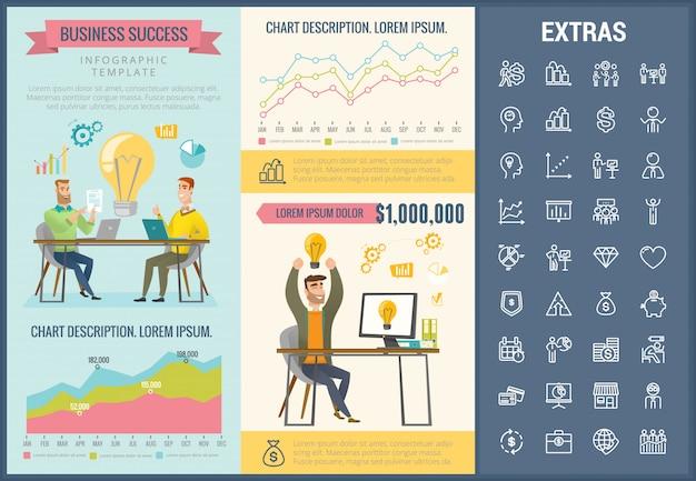 Infographic schablone und ikonen des geschäftserfolgs