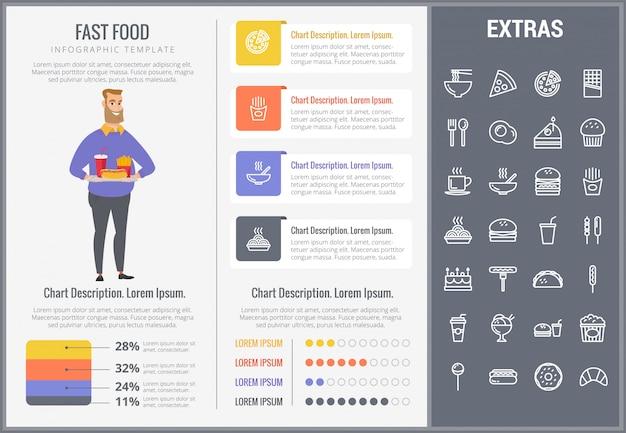 Infographic schablone und ikonen des schnellimbisses eingestellt
