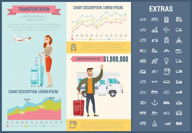 Infographic schablone und ikonen des transportes eingestellt