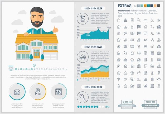 Infographic schablone und ikonen flachen designs der immobilien eingestellt