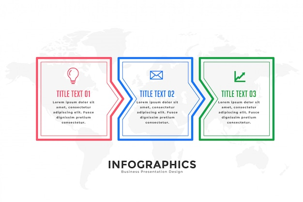 Infographic schablone von drei schritten in der linie art