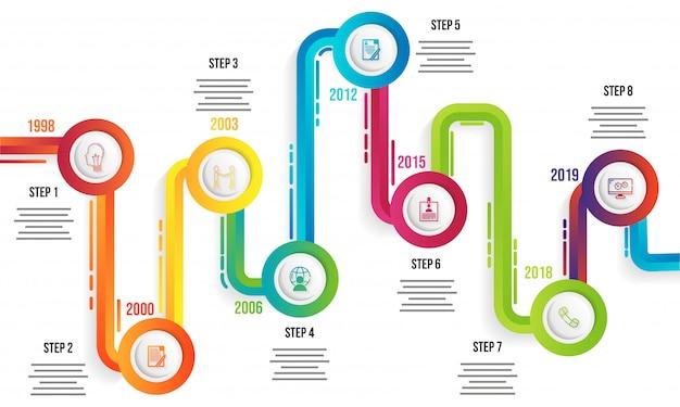 Infographic-schablonendesign des jahreszeitachse mit acht niveaus für
