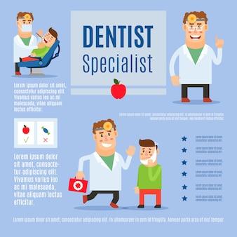 Infographic schablonendesign des zahnarztspezialisten