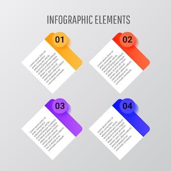 Infographic-schablonendesignvektor mit vier quadratischen formen mit zahlen