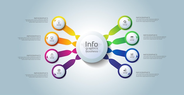 Infographic schablonenkreis des präsentationsgeschäfts bunt mit schritt acht