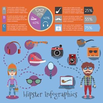 Infographic schablonensatz des hippies